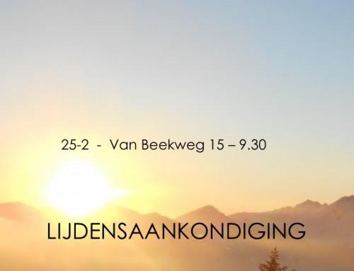 25-2 a.s. 'Lijdens-aankondiging' – Marcus 9, 2-10